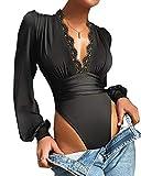 Onsoyours Body Vestir para Mujer V Profunda Mono Bodysuit Mangas Largas Sexy Elegante Fiesta Body Leotardo Body Stretch Bodycon Blusa C Negro S