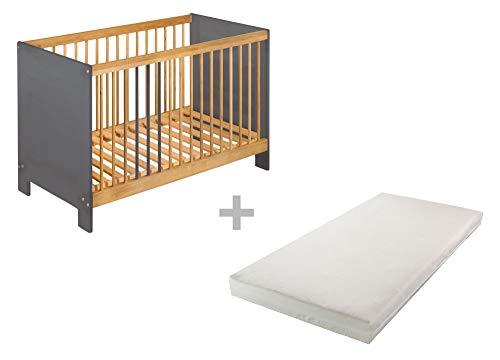 BioKinder 24843 economy set Niklas zijbed kinderbed met matras van massief hout 60 x 120 cm elzenhout en grijs geglazuurd