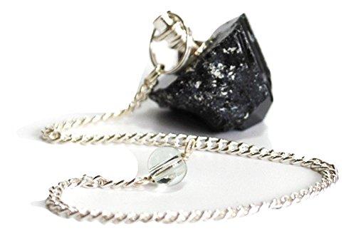 Krystal Gifts UK Péndulo de cristal turmalina negro crudo, incluye información de cristal y bellamente envuelto para regalo.