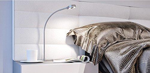 Gedotec Lampe LED flexible Lampe Spot Lampe de lecture bettleu chte 3018 Aluminium Argent | Lampe de table chevet avec commutateur tactile | abandonné | 24 V Connexion