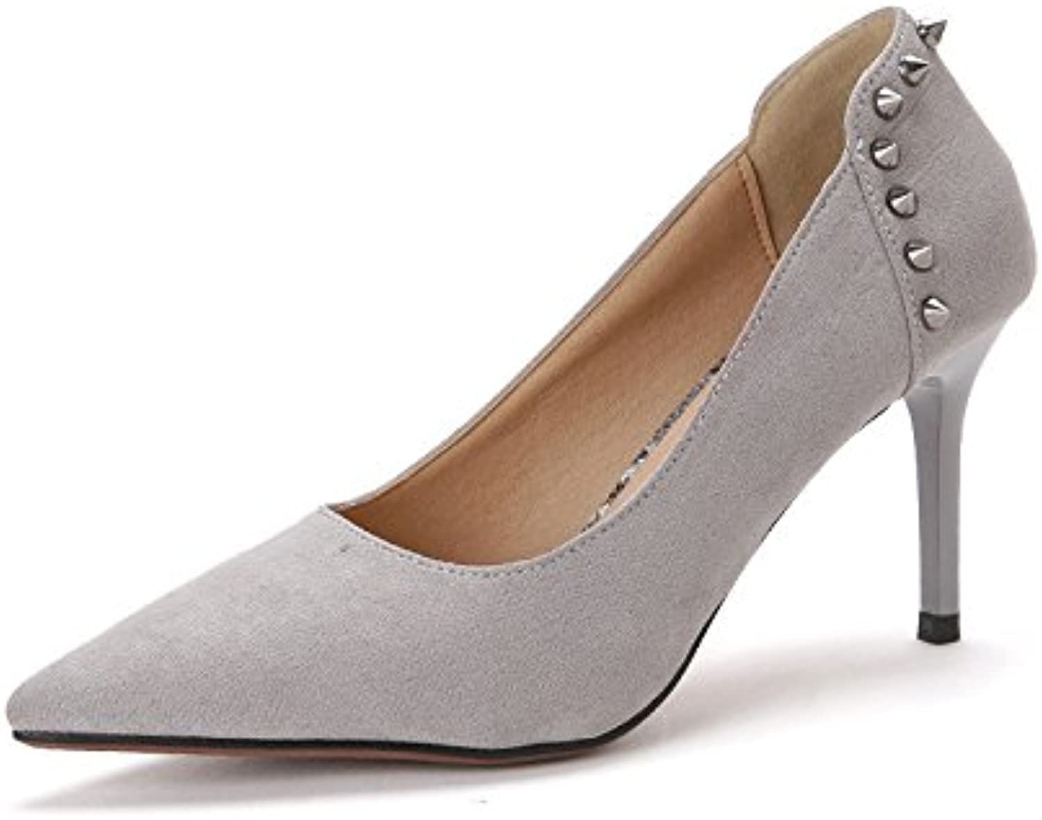 shoesmaker's heart Rivet Tip High-Heeled shoes Individual Suede shoes 2017 Spring Single shoes Women's Shallow