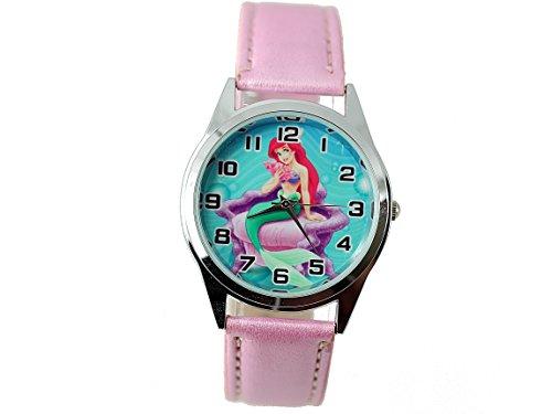 TAPORT® Damen Uhr Analog Quarzwerk mit Leder armband The Little Mermaid Rosa Rund