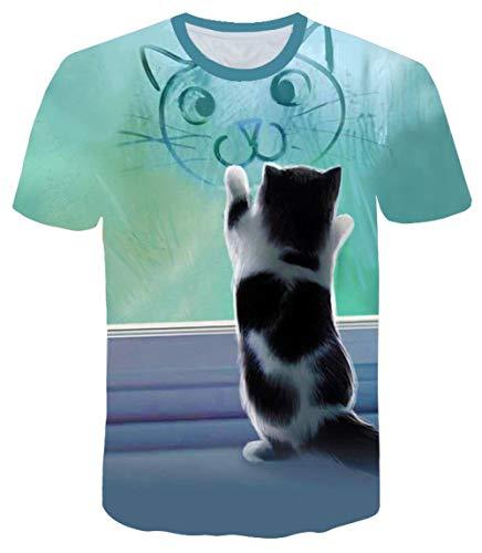Modieuze mannelijke schattige katjes 3DT shirt bedrukking shirt zomer casual soepel koel ademend zweet geschikt voor sport outdoor-sporten paardrijden