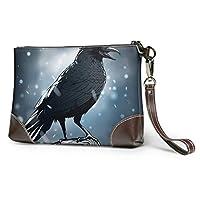 女性の女の子のためのジッパー付きソフト防水クラッチレザーブラックとひどいカラス大きな財布財布