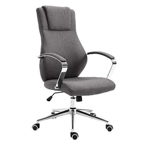 SVITA Mellow Bürostuhl Drehstuhl hochwertig verchromt Armlehnen Höhenverstellung Racing-Stuhl Chefsessel (Dunkelgrau, Stoff)