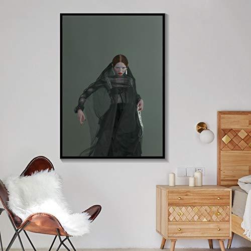 Retrato nórdico Moderno póster e Impresiones Linda Chica con pájaros Lienzo Pintura Mural Sala de Estar decoración del hogar Pintura sin Marco 50x70 cm