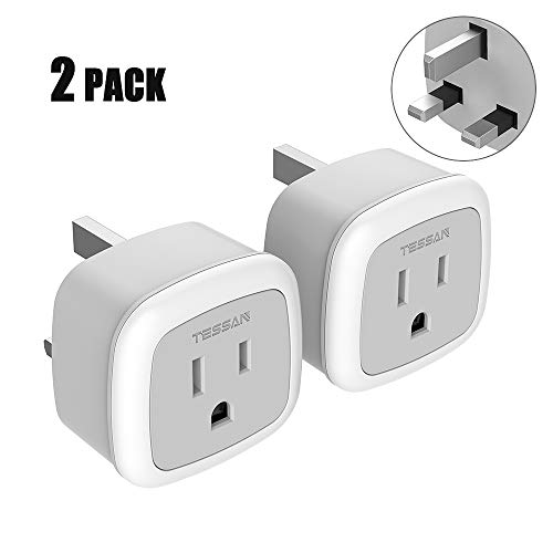 UK Ireland England Power Plug Adapter,TESSAN Travel Adaptor for US to Scotland British Hong Kong London,Type G Outlet Charger - 2 Pack