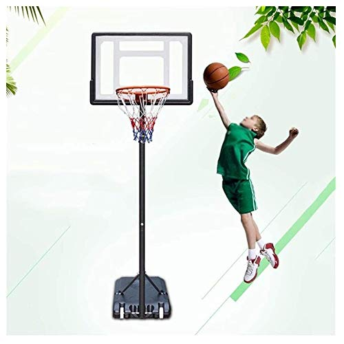 UNU_YAN Sencillez moderna Tableros portátiles de baloncesto, aro de baloncesto, adolescentes Niños Soporte de baloncesto con 2 rondas, altura ajustable 155-210 cm, para adultos y niños entrenamiento d