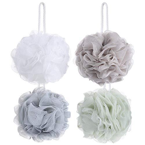 Tbestmax 4 esponjas de baño de malla, exfoliantes, para todo el cuerpo, para ducha