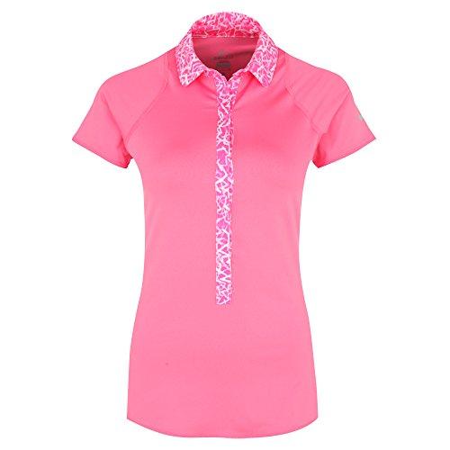 NIKE Damen Kurzarm Polo Shirt Advantage Printed, Pink Sicle/Matte Silver, L