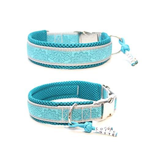 """Hundehalsband""""Spitzenwerk Türkis/Grau"""", Halsband für Hunde, wahlweise mit Gravur, Namensanhänger und Unterfüttertung, verschiedene Breiten wählbar"""