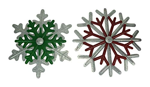 Red and Green Galvanized Metal Art Snowflake Wall Figures Set of 2 - Favorite Decor Store