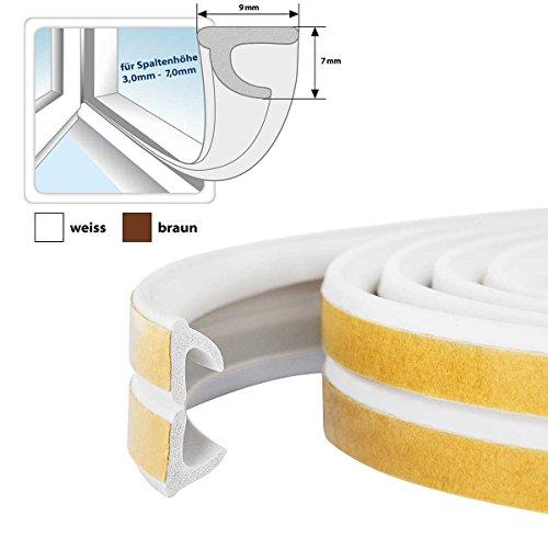 STEIGNER Gummidichtung V-Profil selbstklebend - Fensterdichtung Türdichtung Gummi Profil, Farbe: Weiß, 5 m
