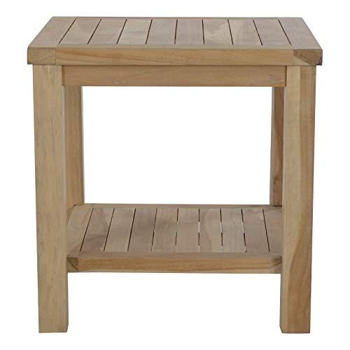 MACOShopde by MACO Möbel Beistelltisch aus massivem Teak Holz wetterfest für Garten Balkon und Terrasse – Quadratischer Holztisch 50 x 50 cm mit Ablagefach