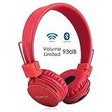 Auriculares Inalámbricos Bluetooth para Niños Adulto, Cascos Recargables y Plegables con Micrófono y Limitador de Volumen para Tableta, PC, Smartphone, Música por Termichy (Rojo)