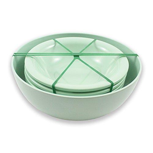 CARTAFFINI SRL - Juego de ensalada y pasta para 4 personas, de melamina, color verde