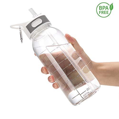 BOTTLED JOY Sports Water Bottle with Straw 1Litre Durable Leakproof BPA Free Tritan Gym Flip Sipper...