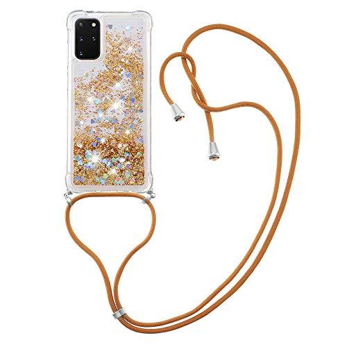 Schutzhülle für Samsung Galaxy S20 Plus (6,7 Zoll) (6,7 Zoll), Flüssigkeit, funkelnd, TPU-Gel, Silikon, stoßfest, mit Trageband, goldfarben