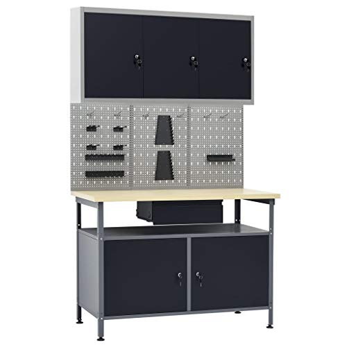 Unfade Memory Steel Adjustable Workbench Table with a Drawer and 2 Storage, Heavy-Duty Workstation with 3 Wall Panels and 1 Cabinet