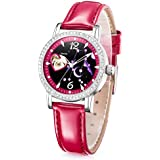 Time100 Women 12 Constellation-Watch Luminous Genuine Leather Band Hollowed-Out Diamond Quartz Movement Watches for Women
