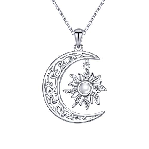 FLYOW S925 Sterling Silver Jewelry Celtic Crescent Moon and Sun Necklace for Women Teen Girls Birthday Gift for Her