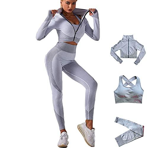 Veriliss 3 Piezas Mujer Yoga Traje Entrenamiento para, Gym Mallas de Yoga Sin Costuras y Sujetador Deportivo Elástico Ropa de Gimnasio (Gris, M)