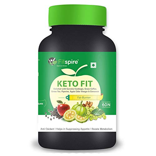 Fitspire Keto Fit Organic Weight Loss Capsules | Green Tea + Garcinia Cambogia + Green Coffee + Piperine + Apple Cider Vinegar + Cinnamon) | Suppress Appetite & Reduce Cravings | 60 Capsules