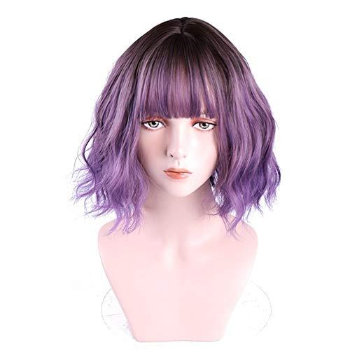 LITAO-QAZ Pelucas con Encanto y cómodo Peluca púrpura Humo Negro (Color : As Shown)
