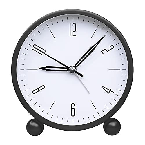 Kleiner Wecker, einfach zu bedienende Nachttischuhr, 4,8 Zoll große Digitalanzeige Nicht tickende stille Uhr mit Nachtlicht grün