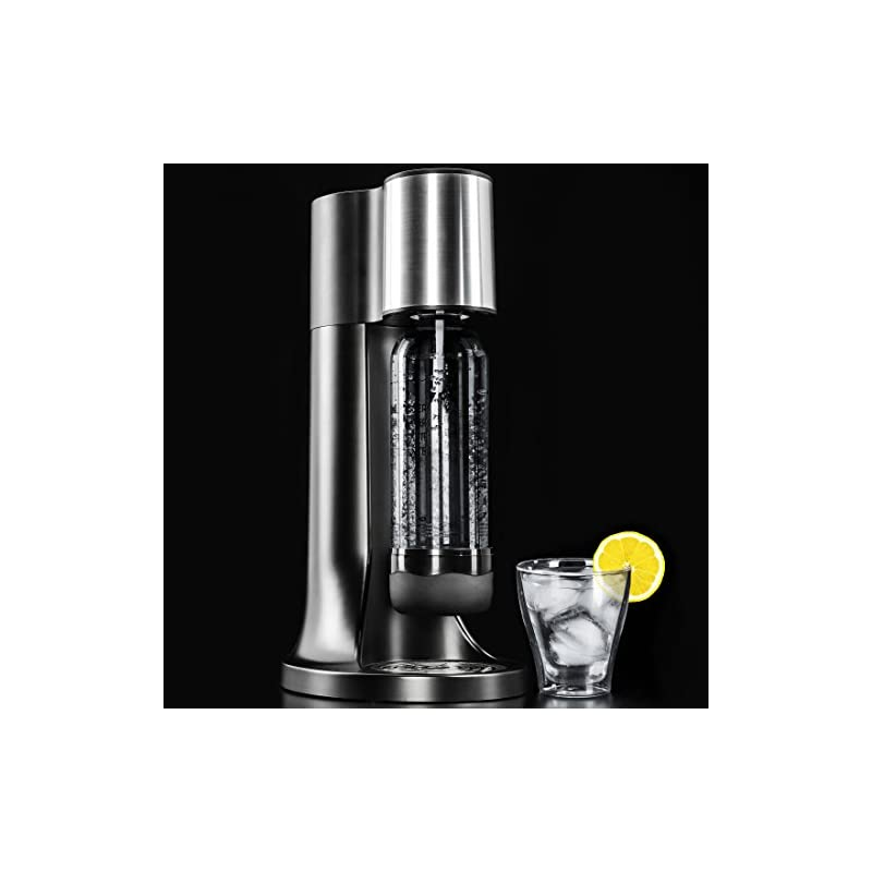 LEVIVO Classic Sparkling Water Maker Machine, with CO2 Cylinder and 2x 1L PET Bottles, black