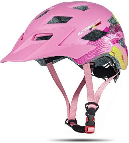 MOKFIRE Casco per bambini - Casco da bici per ragazzi e ragazze con visiera rimovibile, grandi prese d'aria e luci...