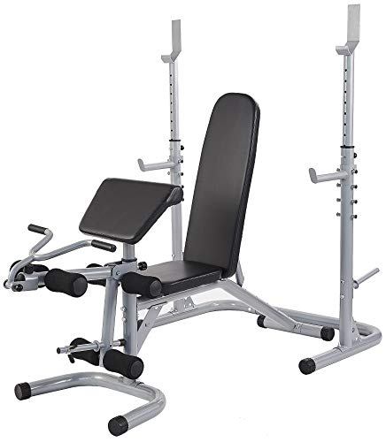 BalanceFrom RS 60 Multifunctional Workout Station Adjustable Olympic Workout Bench with Squat Rack, Leg Extension, Preacher Curl, and Weight Storage, 800-Pound Capacity