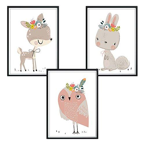 luvel YOUNG FASHION 3er Set Poster für Kinderzimmer und Bilderrahmen, Kinderposter, Babyzimmer Bilder, Baby Bilder, Dekoration Kinderzimmer, (P11)