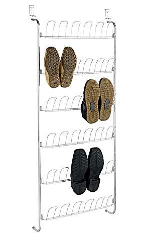 WENKO Tür-Schuhregal, Regal mit 6 Ablagen für bis zu 18 Paar Schuhe, zum Einhängen an die Tür, 59 x 151 x 14 cm, verchromtes Metall