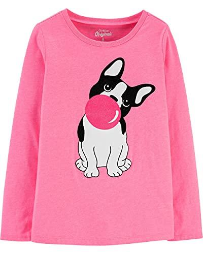 Carters Kid OshKosh Girls French Bulldog Sweeter Than Bubblegum Graphic Tee Pink Jersey Pullover Size 14