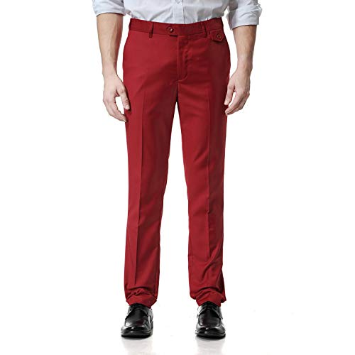 Zestion Mens Suit Pants Slim Regular Fit Breathable Cotton Casual Trousers Formal Business Office Work Home Chino Pants Large Red Wine