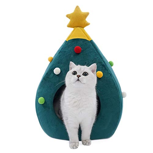FunPa Cat Caves Houses,Christmas Pet Cave Creative Tree Shape Cat House Pet Nest for Cats Kittens (Green)