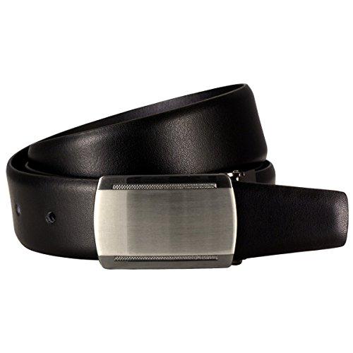 Lindenmann Mens Leather Belt/Mens Belt, leather belt curved with plate buckles, black, Größe/Size:100, Farbe/Color:noir