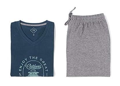 TEX - Pijama Largo para Hombre, 2 Piezas, Estampado, Cuello Pico, Cromo, XXL
