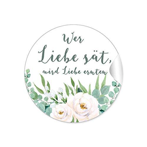 24 STICKER Wer Liebe sät, wird Liebe ernten Etiketten als Gastgeschenk BOHO HIPPIE STYLE ZWEIGE BLÜTEN ROSEN BLÄTTER GRÜN WEIß für Samen Tüten Reagenzgläser Blütensamen zur Hochzeit Geburtstag
