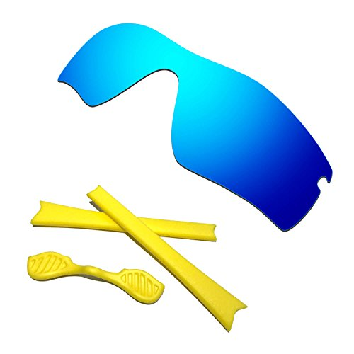 HKUCO Blue Polarized Replacement Lenses plus Yellow Earsocks Rubber Kit For Oakley Radar Path