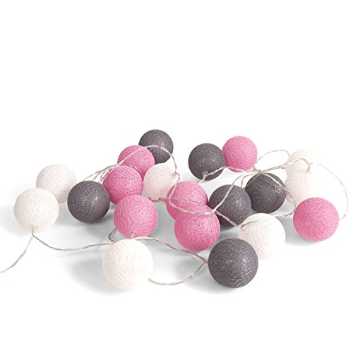 10 Feet Pink Grey White Cotton Ball Fairy String Party Light Lantern 20 LED AA Battery Powered Girl Baby Shower Birthday Party Nursery Patio Hanging Decoration