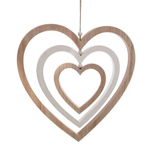 Deko Herz aus Holz - 36 cm - Dekofigur Herzen zum aufhängen Holzherz Hängedeko Deko Skulptur Dekoherz 3er Spiel