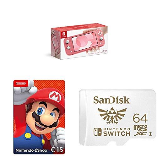 Nintendo Switch Lite, Standard, Koralle + Nintendo eShop Card | 15 EUR Guthaben | Download Code + SanDisk microSDXC UHS-I-Karte für Nintendo Switch 64 GB