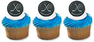 Hockey Puck Ring Cake Cupcake Topper (48-Pack)