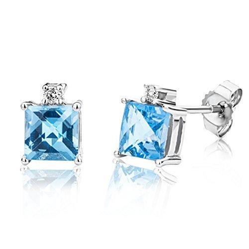 Miore Ohrringe Damen Weißgold 9 Karat / 375 Gold Ohrstecker Blauer Topas mit Diamant Brillianten