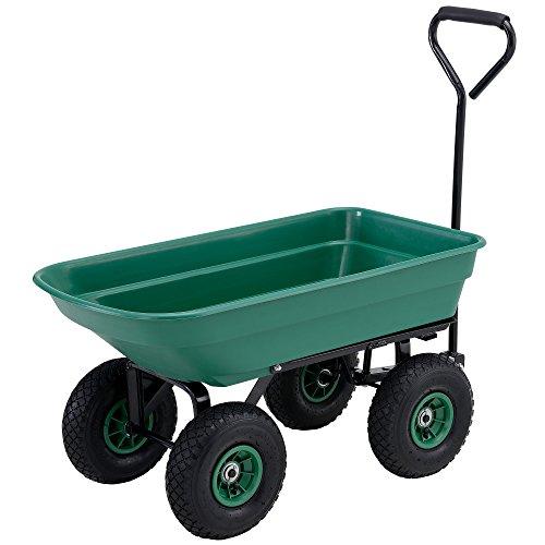 [pro.tec] Carro de transporte para jardín (Capacidad 75L - 300kg) (verde) trasera abatible (eje de dirección y neumáticos)