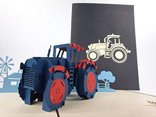 Big Blue Tractor 2 Village Cottage Pop Up Karte Geburtstagskarte Geburtstagswünsche Geburtstagskarte Nameday Karte Glückwunschkarte Happy Birthday 3D