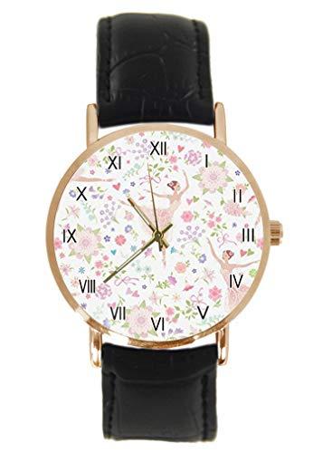 Reloj de pulsera para bailarina de ballet de color rosa, clásico, unisex, analógico, cuarzo, caja de acero inoxidable, correa de cuero
