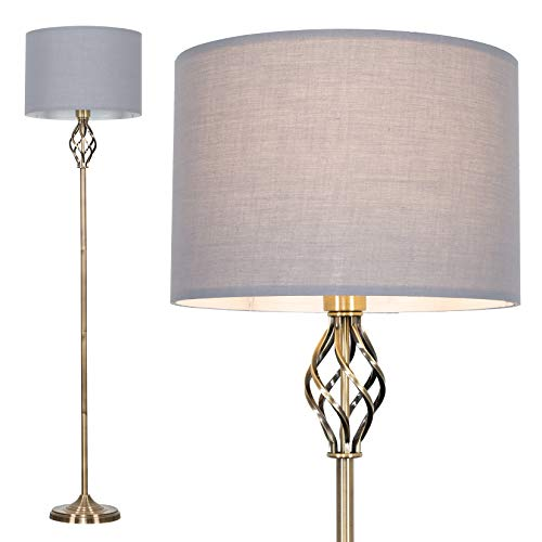 Traditional Style Antique Brass Barley Twist Floor Lamp with a Grey...